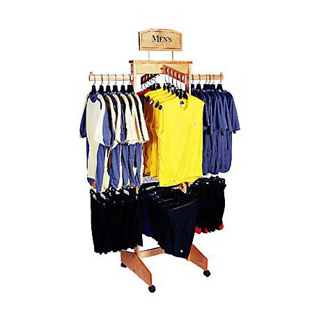 Two Tier 4-Way Wooden Clothing Rack